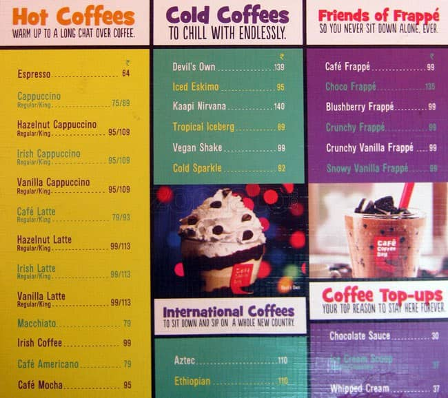 Coffee Day Menu India Cafe Coffee Day Adyar Menu