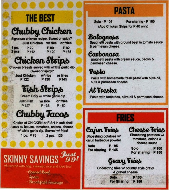 Chubby chicken menu
