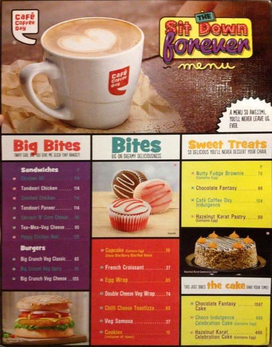 Coffee Day Menu With Prices Cafe Coffee Day rt Nagar Menu