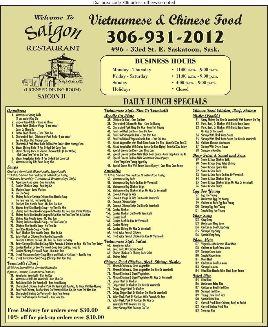 Saigon ii restaurant menu menu for saigon ii restaurant for Asian cuisine saskatoon menu
