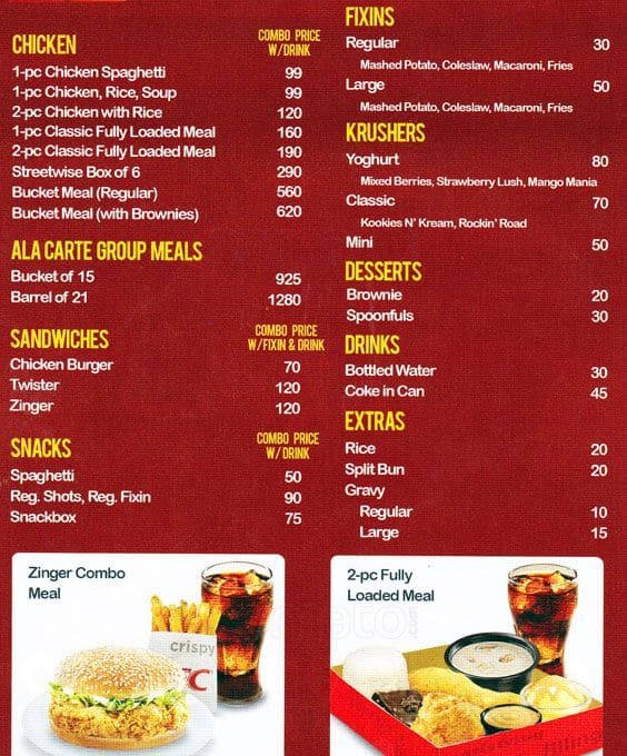 KFC Menu, Menu for KFC, Banawe, Quezon City - Zomato Philippines