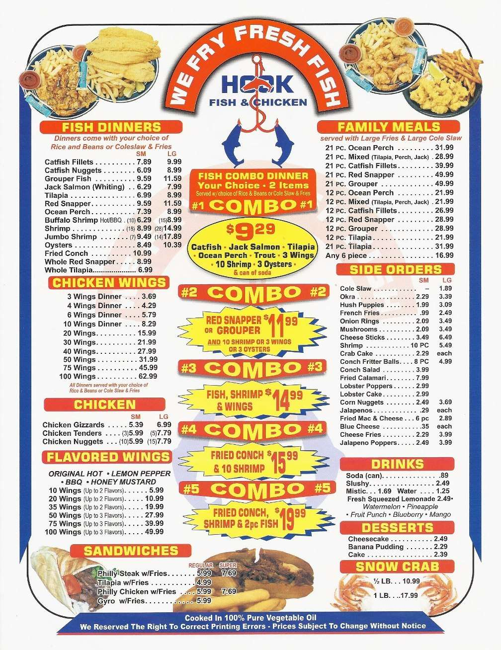 hook fish chicken menu menu for hook fish chicken