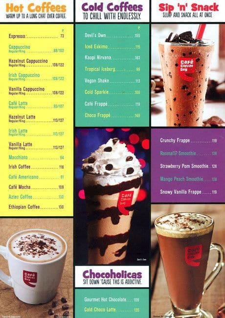 Coffee Day Menu With Prices Cafe Coffee Day Mahim Menu