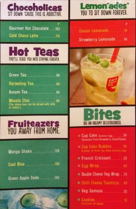 Coffee Day Menu With Prices Cafe Coffee Day Panaji Menu