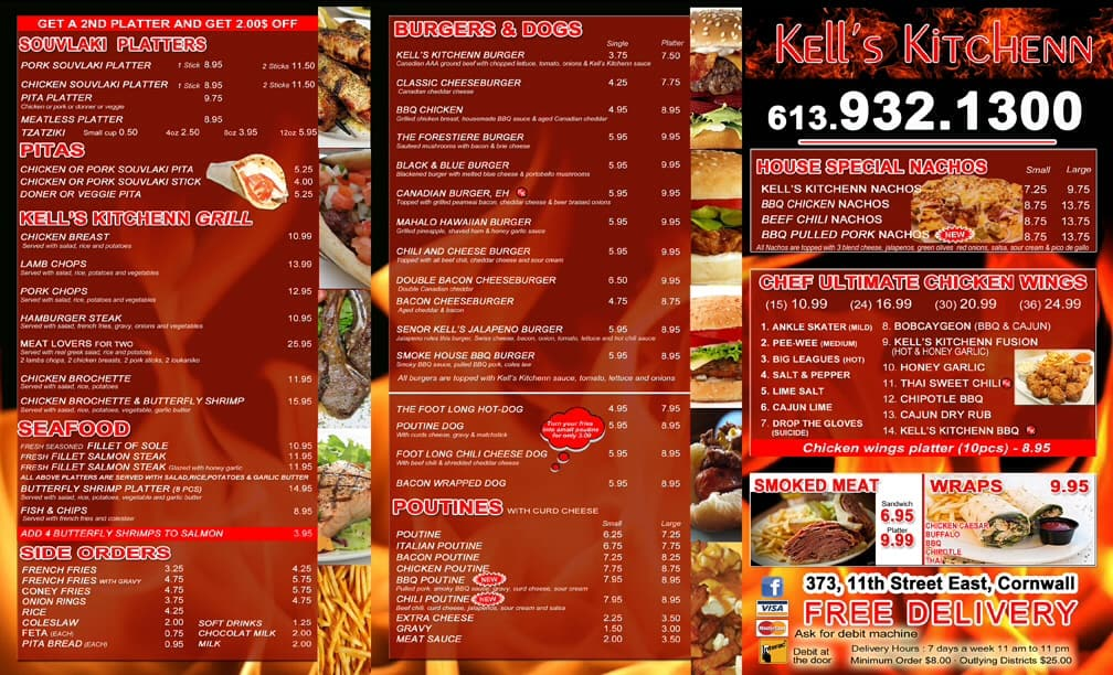 Kells Kitchen Menu