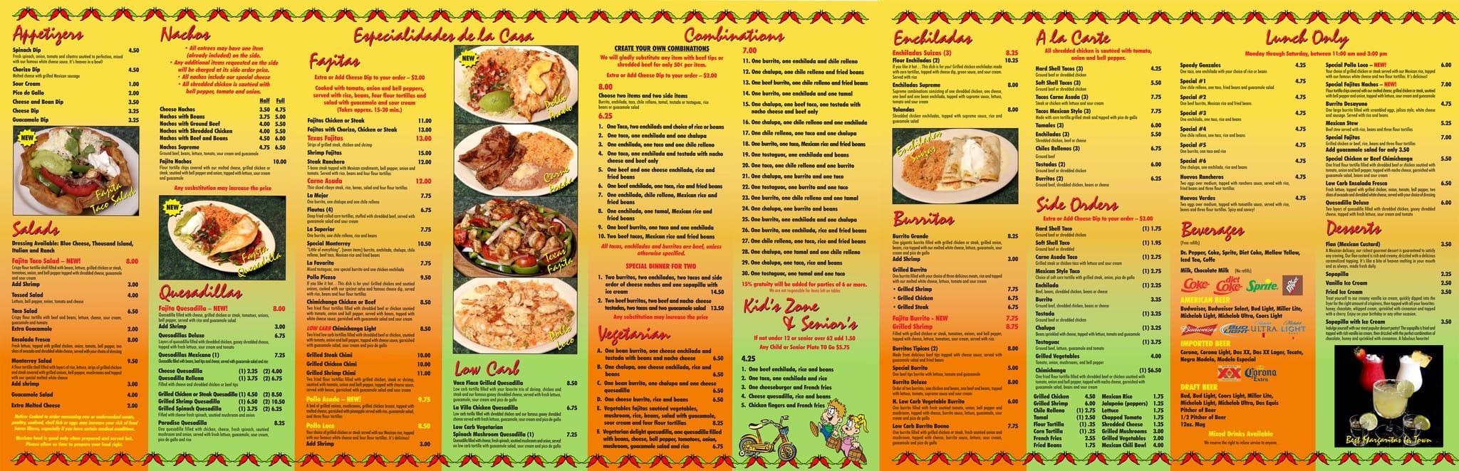 Mexican Restaurants Dinner Menu