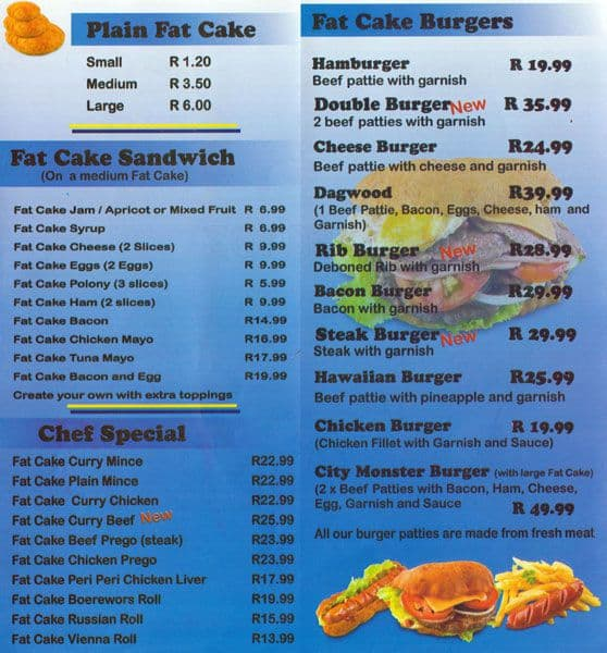 Fat City Restaurant Menu